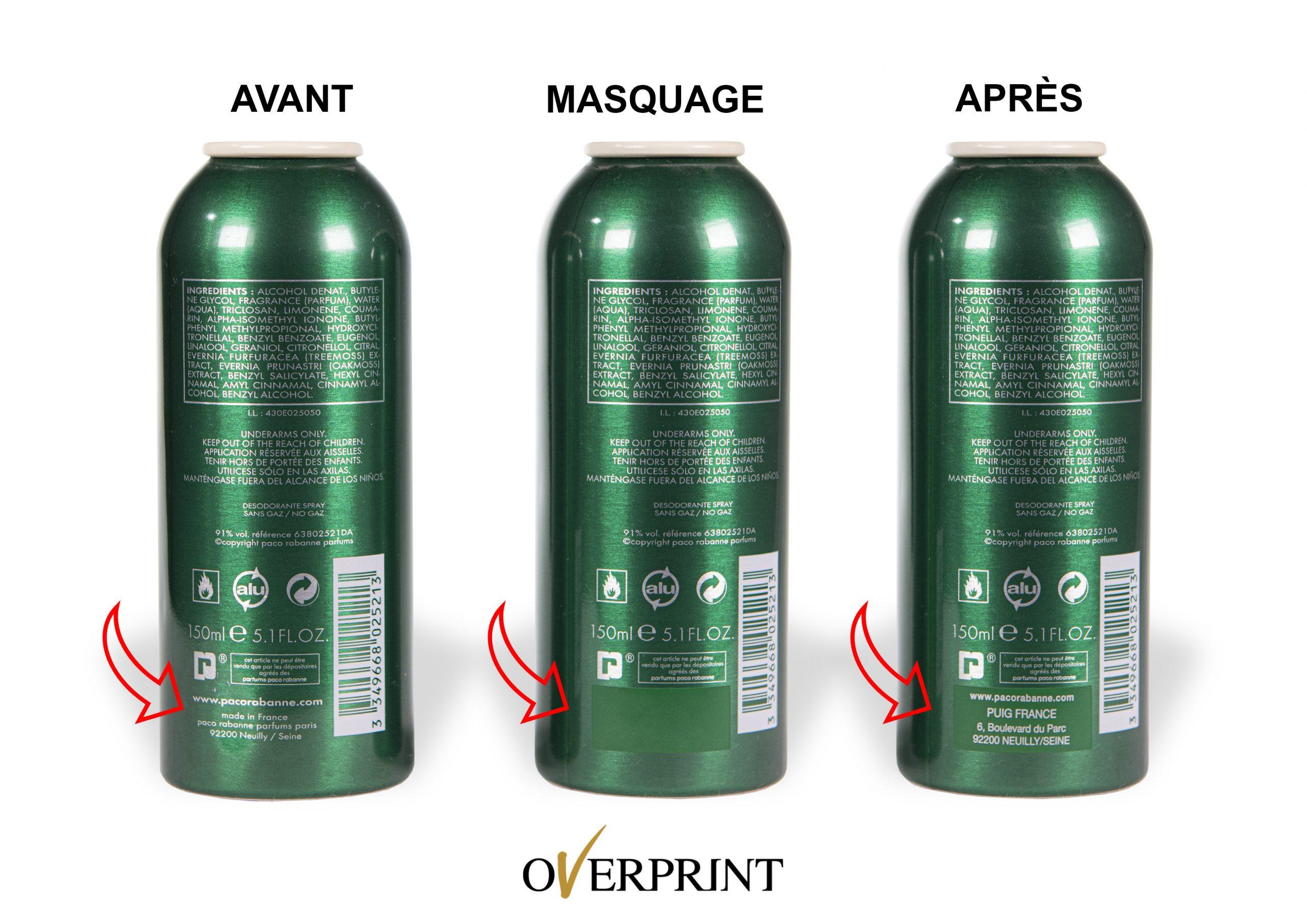 """Modification de la mention """"eau de parfum"""" par effaçage au laser et réimpression de la mention """"eau de toilette"""""""